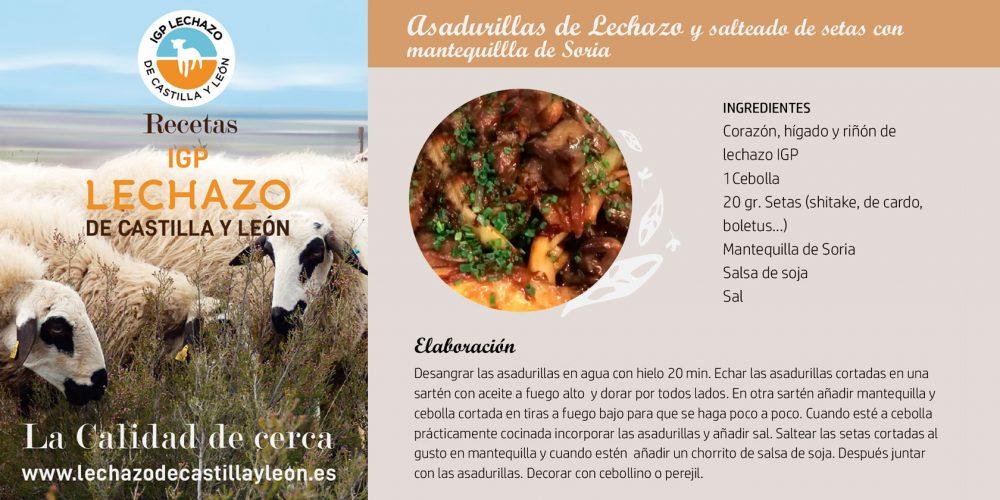 Asadurillas de Lechazo y salteado de setas con mantequillla de Soria