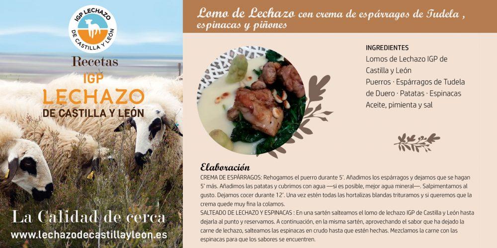Lomo de Lechazo con crema de espárragos de Tudela espinacas y piñones